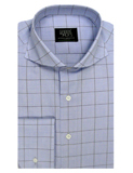 Mens Clothing - Light Steel Blue and Brown Check With Cutaway Collar