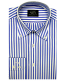 Mens Clothing - White And Blue Stripe With Button Down Collar